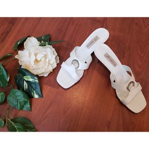Brighton White Block Heel Sandals